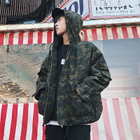 2018春新款男士学生装工装水洗连帽宽松版韩版迷彩面包服棉衣潮