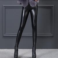 女高腰弹力紧身显瘦加绒加厚大码打底小脚铅笔长裤 黑色