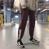 男士休闲裤春季韩版2018新款条纹修身小脚裤潮流男装束脚运动裤子