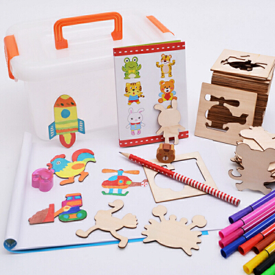 儿童学画画工具套装 女宝宝涂鸦涂色手绘画模板填色描画礼物玩具