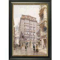 欧式装饰画美式水彩建筑风景街景挂画北欧复古客厅咖啡厅组合壁画SN4758 59*84cm 单幅价格