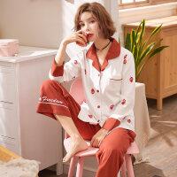 春秋睡衣女纯棉长袖可爱薄款韩版两件套全棉女士家居服套装夏季