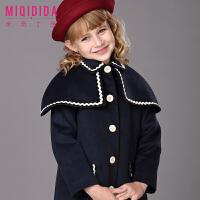 米奇丁当女童加厚呢子大衣2017新品冬装儿童公主保暖纯色洋气外套