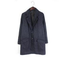 N01042秋冬新款韩版西装领两粒纽扣显瘦好搭配女纯色毛呢外套
