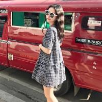 夏装新款女装韩版小清新短袖连衣裙宽松显瘦套头拼接格子中长裙子