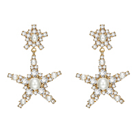 日韩星星爱心珍珠吊坠925银针耳钉女 网红长款耳环