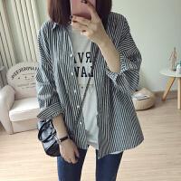 早春新款韩版女装竖条纹口袋宽松长袖衬衫百搭学生薄款外套防晒衫 深灰条纹