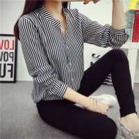 夏季新品欧美时尚长袖雪纺衫女士衬衫职业蓝白条纹打底衫衬衣