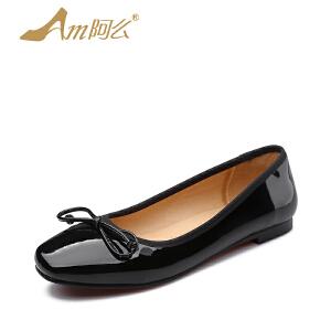 【17新品】阿么甜美蝴蝶结低跟单鞋韩版平底漆皮浅口女鞋子小红鞋