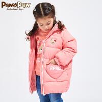 【1件5折 5件4.5折到手价:494】Pawinpaw卡通小熊童装冬儿童羽绒服女童羽绒服白鸭绒