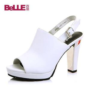 Belle/百丽夏专柜同款牛皮时尚防水台摩登粗跟女凉鞋BFE35BL6
