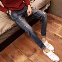 猫须破洞牛仔裤男小脚潮流修身型日系显瘦学生韩版青年直筒弹力裤