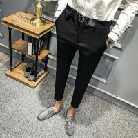 新款秋季男士长裤休闲裤修身韩版小脚西裤冬款发型师潮流英伦风
