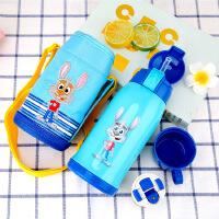 汉馨堂 儿童保温水壶 儿童卡通保温壶创意学生背袋宝宝保冷不锈钢吸管水杯