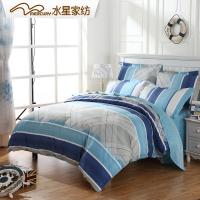 水星家纺四件套全棉纯棉床上四件套简约被套床单双人