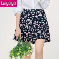 【5折价54.5】Lagogo2017秋季新款女装时尚印花高腰半身裙碎花雪纺短裙a字裙