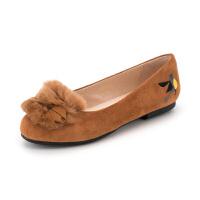 索菲娅(SAFIYA)秋季专柜款甜美扣饰毛毛平底单鞋女SF83111018