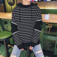 新款秋冬韩版条纹宽松个性破洞带帽毛衣男潮流青少年针织打底衫