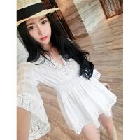 海边度假沙滩裙短裙收腰喇叭袖V领娃娃衫泰国潮牌a字连衣裙子 白色