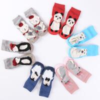 足迹熊 新款秋冬卡通婴儿鞋袜防滑学步袜皮底儿童地板袜宝宝袜子0-1-3岁
