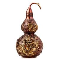 葫芦摆件开盖葫芦紫铜双龙戏珠带叶铜葫芦中式摆件
