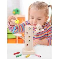 儿童啄木鸟捉虫玩具磁性钓鱼抓虫男女小孩宝宝开发智力1-3岁