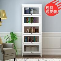 美式书柜带玻璃门收纳柜北欧简约现代落地书架客厅储物柜窄卧室柜