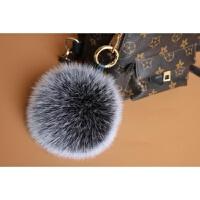 狐狸毛毛球挂件毛毛球包包挂饰背包真毛绒饰品狐狸毛球钥匙扣