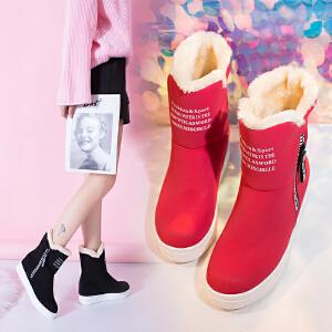 雪地靴女加绒短靴女长筒冬季2018新款韩版百搭学生棉鞋防滑保暖中筒靴子加绒女鞋329DTH