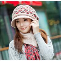 冬季女韩版潮羊纯毛帽针织帽毛线帽围巾两件套 冬天女士帽子