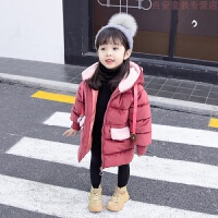 女宝宝冬装棉衣洋气外套2018新款女童棉袄加厚羽绒棉小童儿童 酒红色 笑脸棉衣