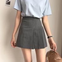 夏季韩版高腰短裙A字裙修身百搭半身裙打底显瘦百褶裙学生女裙子 灰色