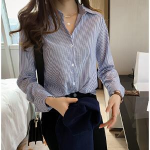 安妮纯冬装女2020新款chic大码竖条纹衬衫女宽松韩范衬衣长袖打底衫潮