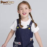 【3件3折 到手价:89】Pawinpaw卡通小熊童装夏季女童圆领短袖T恤