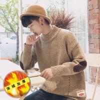 秋冬季半高领毛衣男士韩版潮流学生宽松拼接毛线衣加绒加厚针织衫