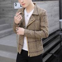 秋季短款格子风衣男韩版青年英伦风潮流帅气毛呢大衣男秋装妮外套