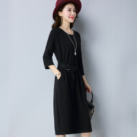 中长款毛衣裙女韩版时尚气质针织连衣裙秋装新款系带羊绒打底衫潮