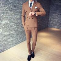 秋冬男士西服套装三件套修身韩版商务正装新郎礼服双排扣英伦西装