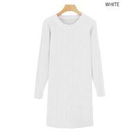 2017冬季韩版宽松女毛衣中长款圆领长袖纯色加厚针织连衣裙打底衫