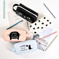 韩国笔袋男女简约大容量硅胶铅笔袋创意文具盒可爱初中学生铅笔盒
