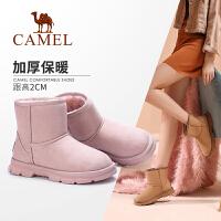 骆驼女鞋2019冬季新款短筒棉鞋女休闲鞋女加绒保暖短靴女雪地靴女