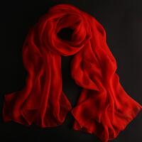 防晒丝巾女百搭雪纺纱巾中国红大红色真丝围巾春秋夏季长款多功能