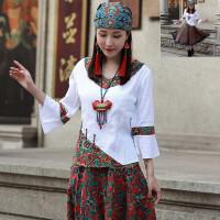 民族风女装上衣 夏装新款 中国风棉麻七分袖衬衫文艺盘扣衬衣