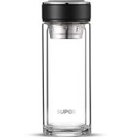 苏泊尔(SUPOR)玻璃杯竹韵系列双层隔热玻璃水杯过滤网透明带盖耐热泡茶杯商务办公杯 400ml KC40CA1 儒雅