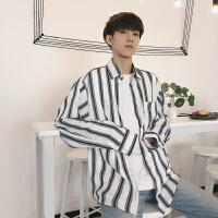棉麻chic韩风衬衫男韩版学生长袖衬衣长袖秋季新款男士条纹衬衫