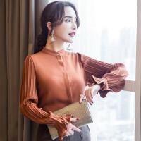 雪纺衫女长袖2018新款春装韩版宽松大码立领喇叭袖衬衫洋气上衣