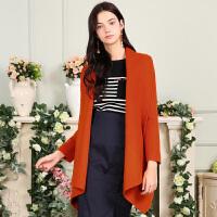 秋装新品中长双面呢大衣宽松羊毛外套女X632196D00