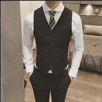 春款男士韩版修身细条纹商务马甲背心时尚伴郎婚庆潮流马夹2件套