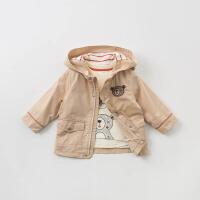 [参考到手价:173.4]戴维贝拉2019秋季新款男童外套宝宝连帽风衣外套DBA9527