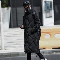 冬季新款韩版修身加厚长款过膝羽绒服男士中长款潮流外套个性帅气 黑色